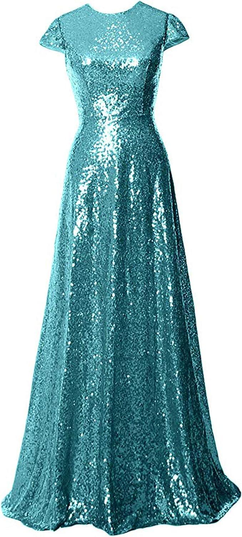 WJBRIDE Women's Cap Sleeves Bridesmaid Dresses Long 2019 Sequin Mother of The Bride Dress