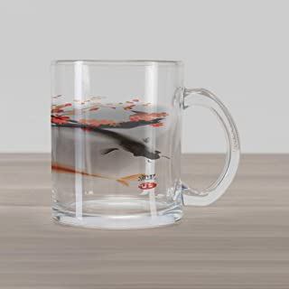 Ambesonne Japanese Glass Mug, Koi Carp Fish Couple Swimming with Cherry Blossom Sakura Branch Culture Design, Printed Clear Glass Coffee Mug Cup for Beverages Water Tea Drinks, Orange Grey