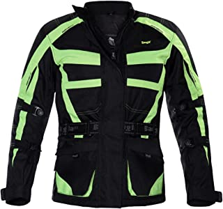 Ledershop online 2263 Bangla Motorradjacke Damen Tourenjacke Schwarz Neon Gelb M
