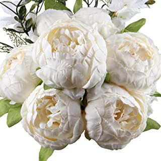Leagel?Fake Flowers Vintage Artificial Peony Silk Flowers Bouquet Wedding Home Decoration, Pack of 1 (Spring White)