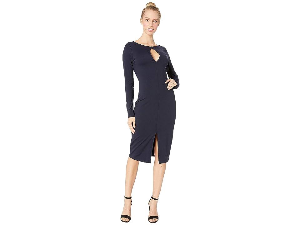 Susana Monaco Long Sleeve Slit Front Dress (Midnight) Women