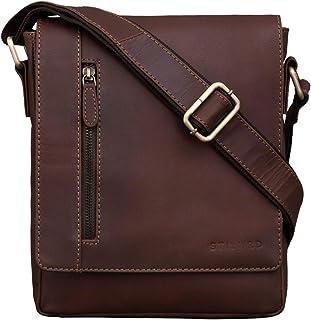 """STILORD Easton"""" Kleine Messenger Bag Echt Leder Vintage Umhängetasche im Hochformat 10,1 Zoll Tablet Tasche für iPad DIN A5 Schultertasche Echtleder, Farbe:Havanna - braun"""