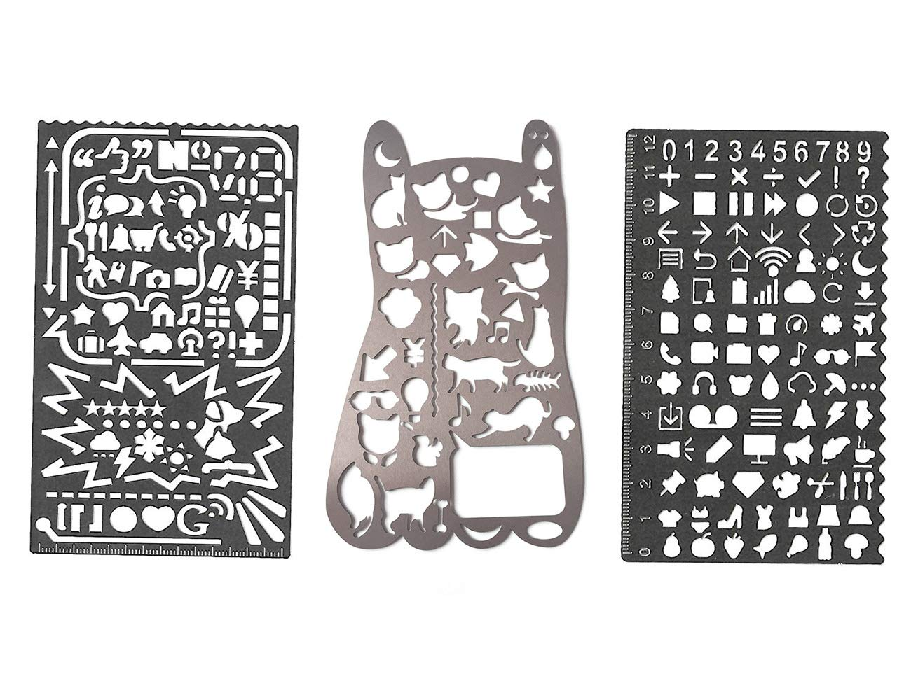 Conjunto de plantillas de metal número gato con muchos símbolos - Amupper Bullet Journal Planner Stencils Multifuncional Graffiti Doodle marcador de regla regalo para dibujo dibujo, paquete de 3: Amazon.es: Hogar