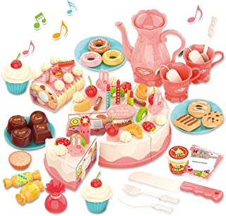 GILOBABY Birthday Cake Toy with Lights & Sounds, Pretend Play Cutting Food Kitchen Toy with Tea Set Bread Roll, Chocolate,...