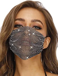 Sparkly Rhinestone Mesh Mask Women Reusable Bling Face Masks for Halloween Party