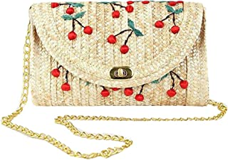 Abuyall Straw Crossbody Bag Womens Weave Shoulder Bag Beach Cherry Clutch