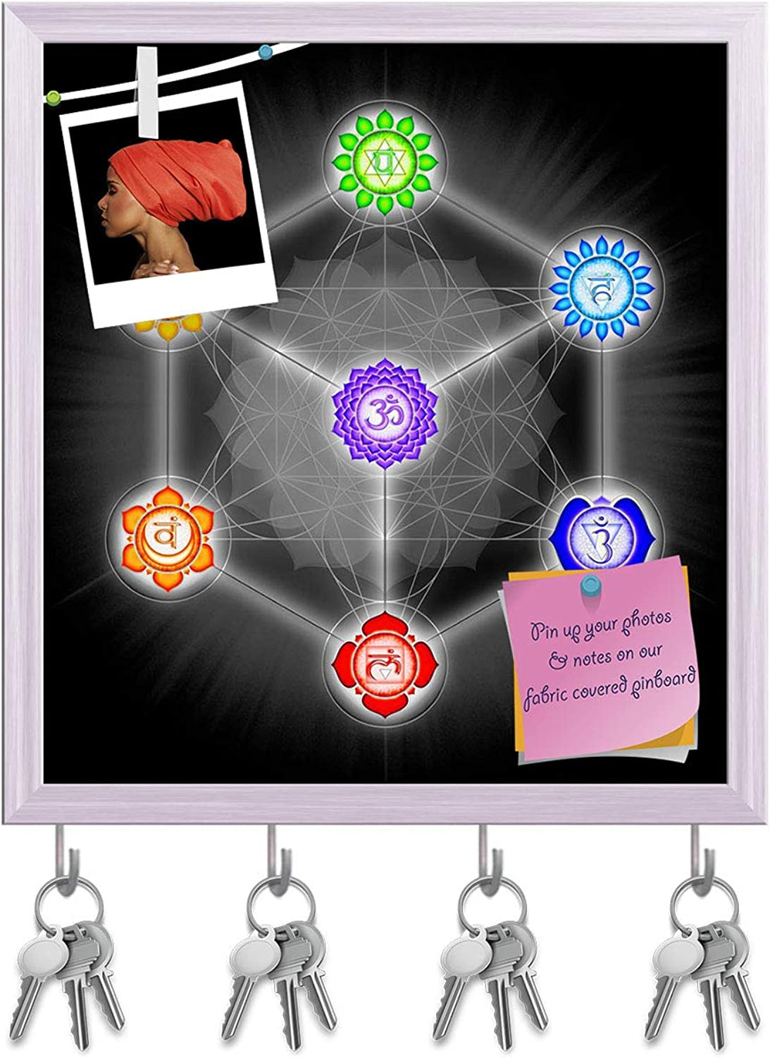 Artzfolio Metatrons Cube & Chakras D2 Key Holder Hooks   Notice Pin Board   White Frame 16 X 17.3Inch