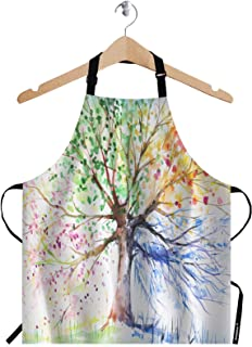 WONDERTIFY Colorful Tree Apron,Four Season Tree of Abstract Painting Bib Apron with Adjustable Neck for Men Women,Suitable for Home Kitchen Cooking Waitress Chef Grill Bistro Baking BBQ Artist Apron
