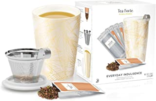 Tea Forte Loose Tea Starter Set, Holiday Gift Set with Kati Cup Infuser Steeping Cup and Box of 10 Single Steeps Assorted Varitety Tea Pouches (Everyday Indulgence)
