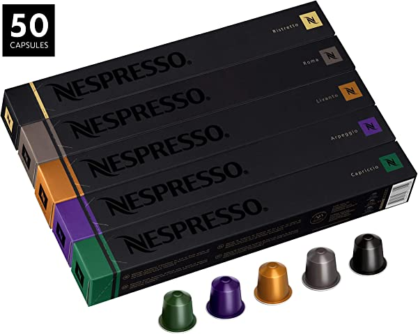 Nespresso OriginalLine Variety Pack Capsules 50 Count Espresso Pods Assorted Dark And Medium Roasts 5 Coffee Flavors Include Roma Capriccio Livanto Arpeggio Ristretto