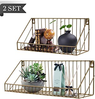 AGSIVO Floating Shelves Wall Mounted Set of 2 Wall Metal Storage Shelves with Seamless Nails for Bedroom, Living Room, Bathroom, Kitchen, Office Storage (Brown)