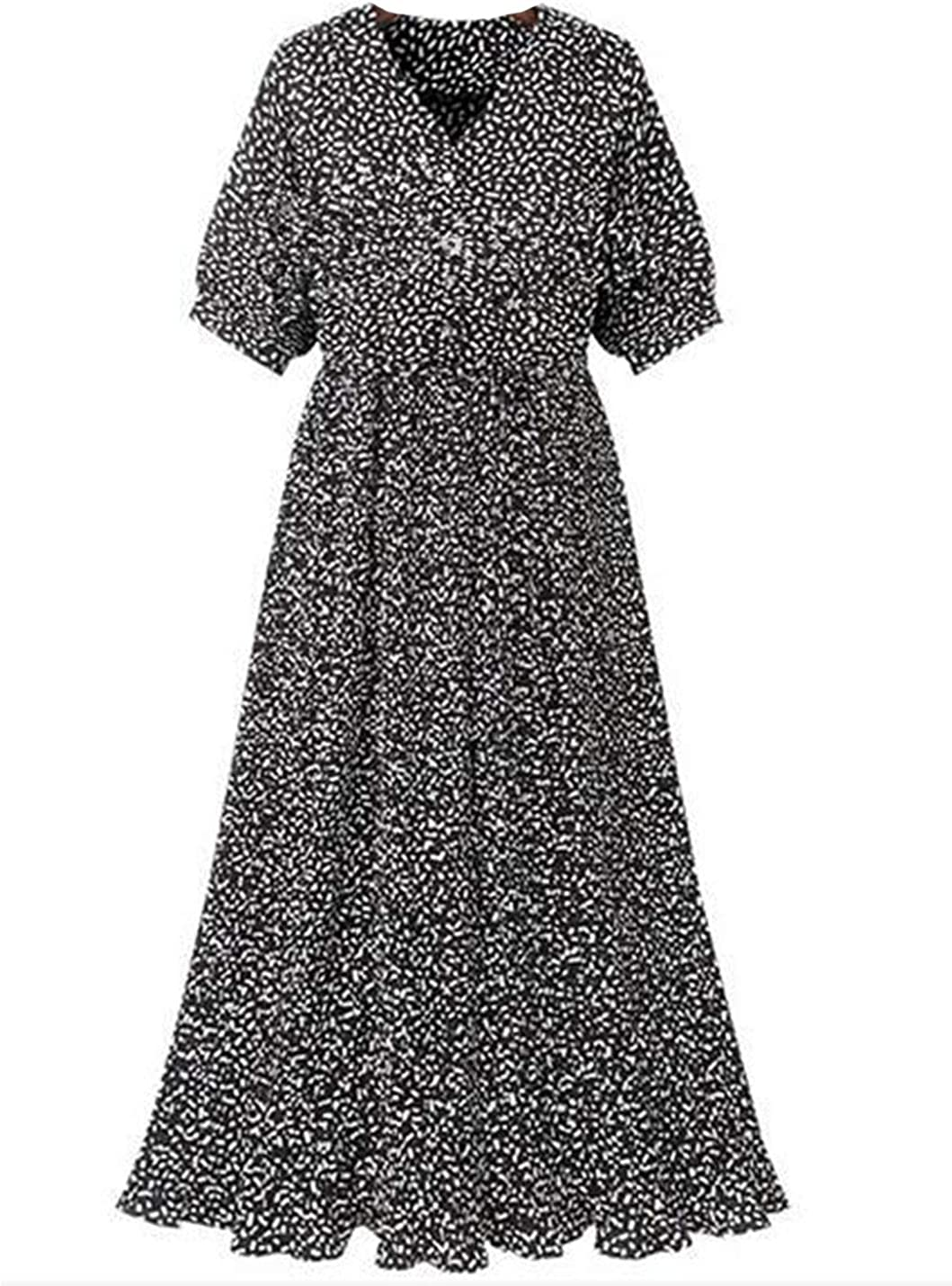 Uaneo Women's Slim Floral V Neck Drawstring Pleated Short Sleeve Midi Dress(Black-L)