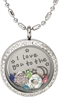 Memory Locket Pendant Necklace with Turnable and Movable Backplate with Inscription, Colorful Birthstones, Matching Charms