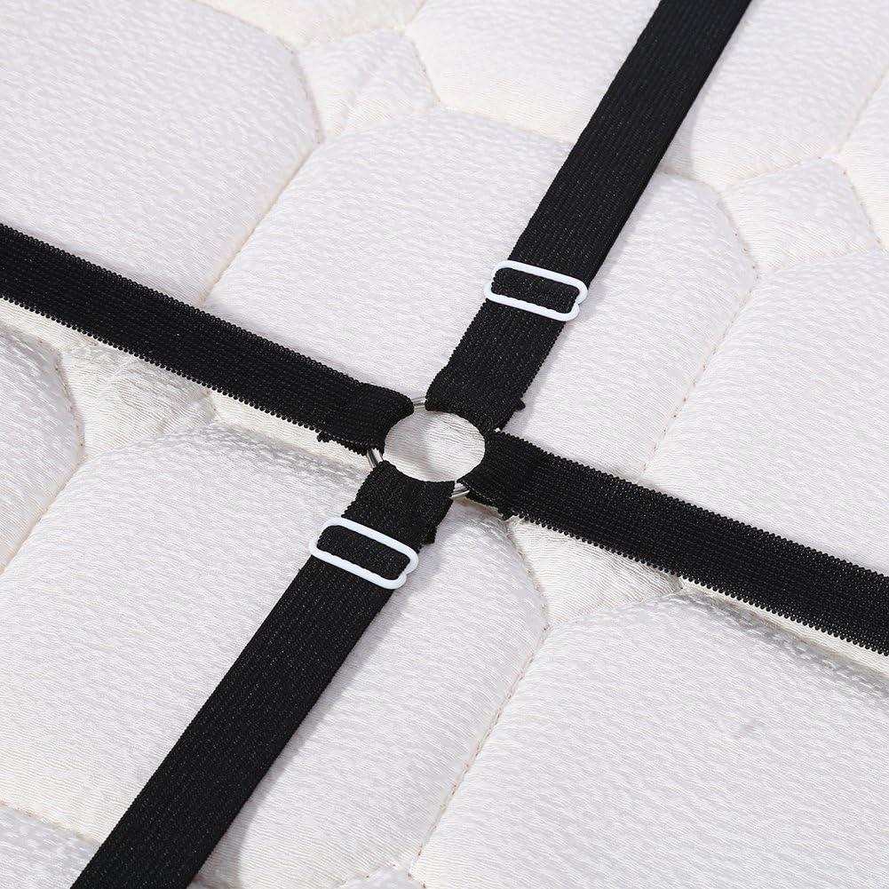 2PCS Pinces De Drap De Lit Fixe Cr/éatif Bouton De Drap tendeur De Lit De Croix /Élastique accessoire literie Noir+Blanc