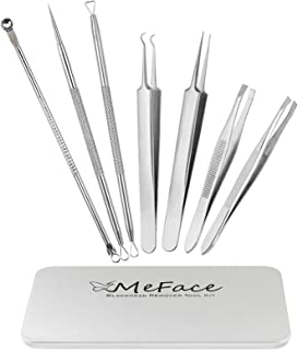 MeFace 7 Pcs Blackhead Remover Tool Eyebrow Tweezers Set Comedone Extractor Acne Picker Tools Pimple Popper Tool Treatment for Zit Spot Blemish Eyebrow Splinter Ingrown Hair Removal Tool