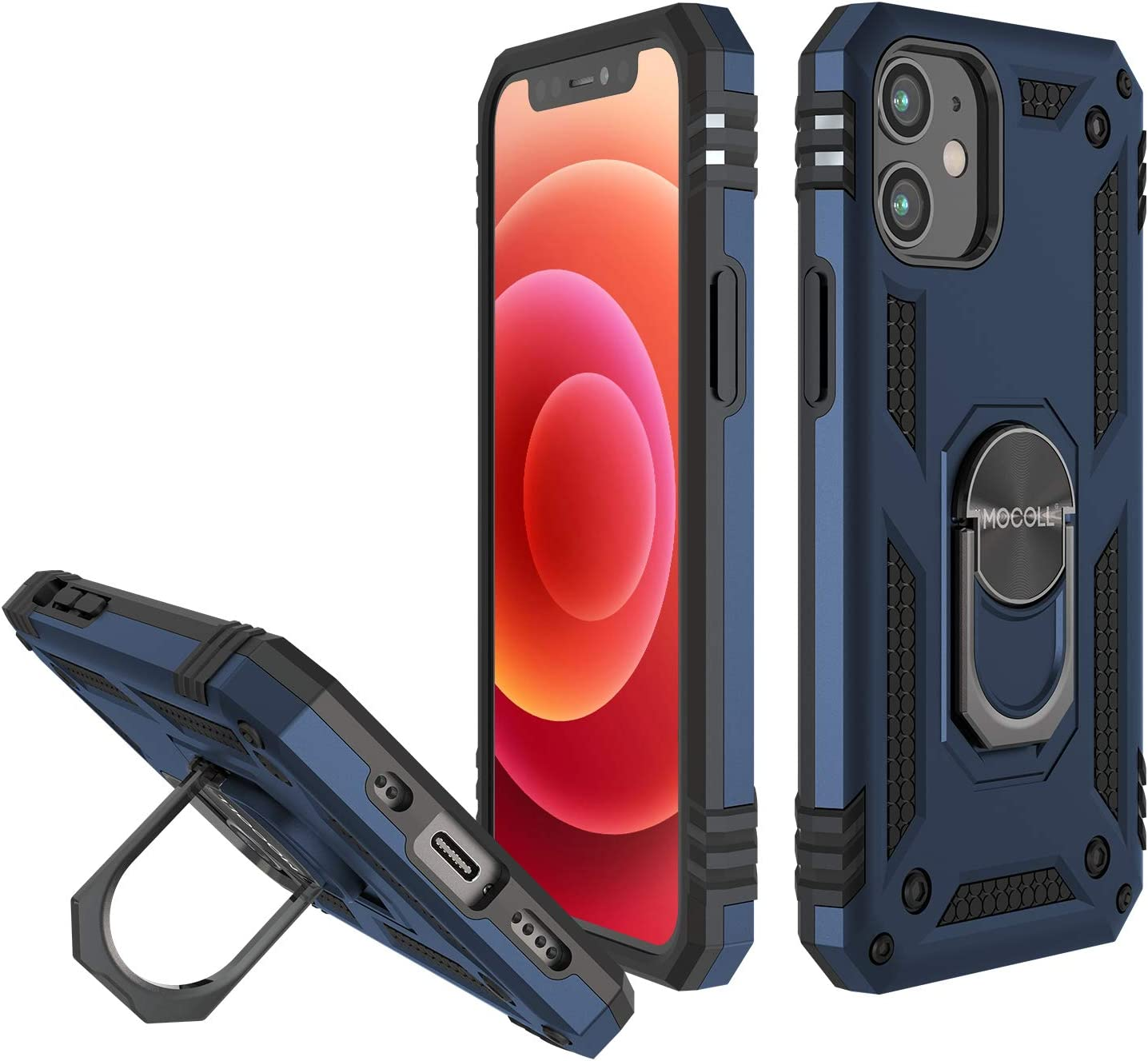 MOCOLL Case for iPhone 12 Pro Max Military Grade Drop Tested Protective Cover Case Protector Full-Body Holster Case with Kickstand Blue