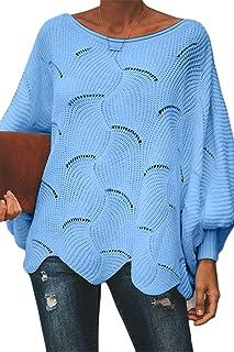 FAFOFA Women's Off Shouler Batwing Sleeve Sweater Scallop Knit Pullover Jumper