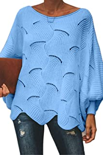 FAFOFA Women's Off Shouler Batwing Sleeve Sweater Scallop Knit Pullover Jumper
