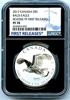 2017 CA Canada Coin Canadian Silver BALD EAGLE Reverse Proof FIRST RELEASES $5 PF70 NGC