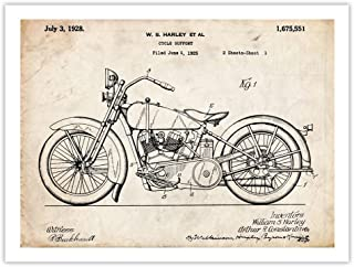 Harley Davidson Motorcycle Poster 1928 Patent Art Handmade Gallery Print Parchment 18x24 Inches