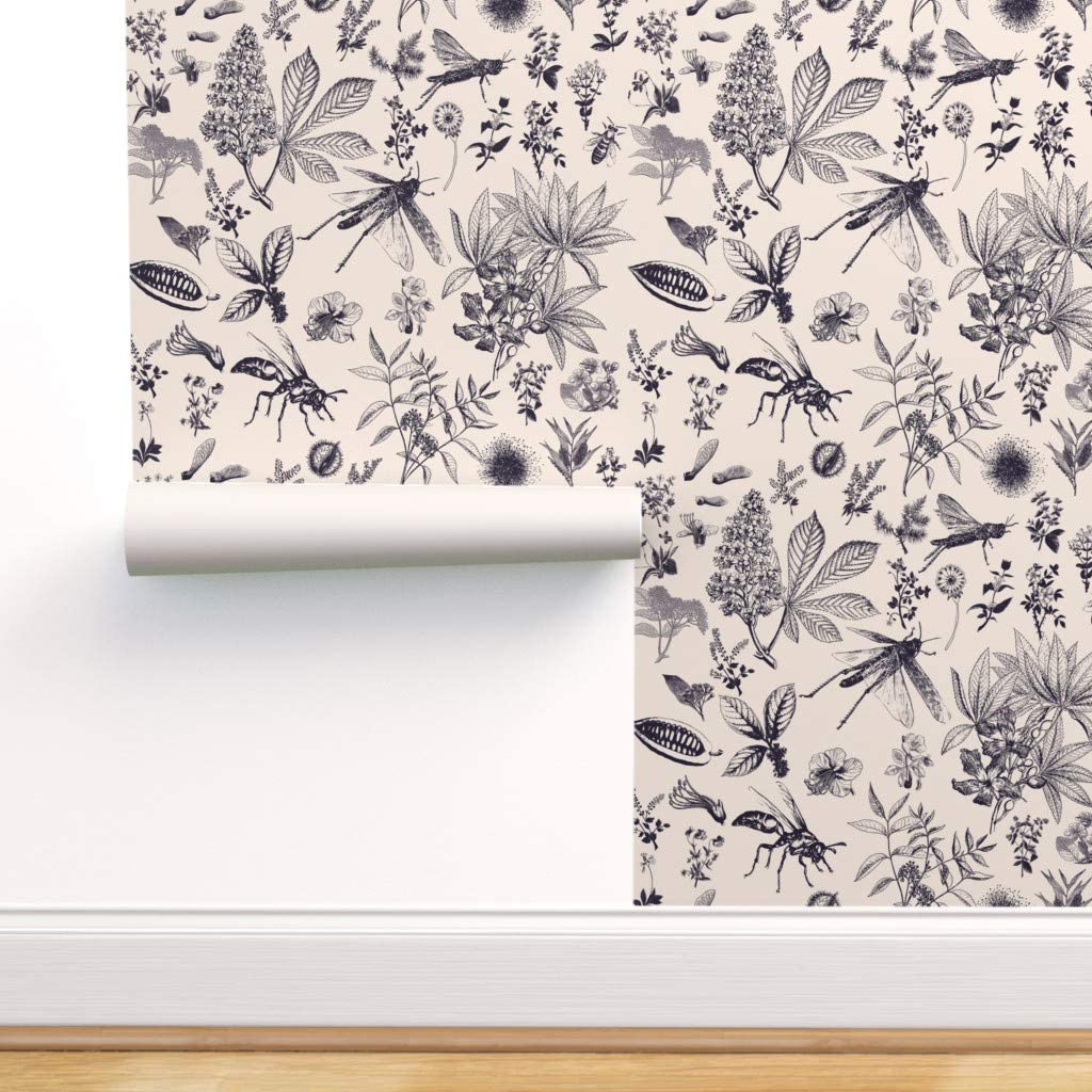 Spoonflower Peel Popular shop is the lowest price challenge and New arrival Stick Removable Insect Botanical Wallpaper