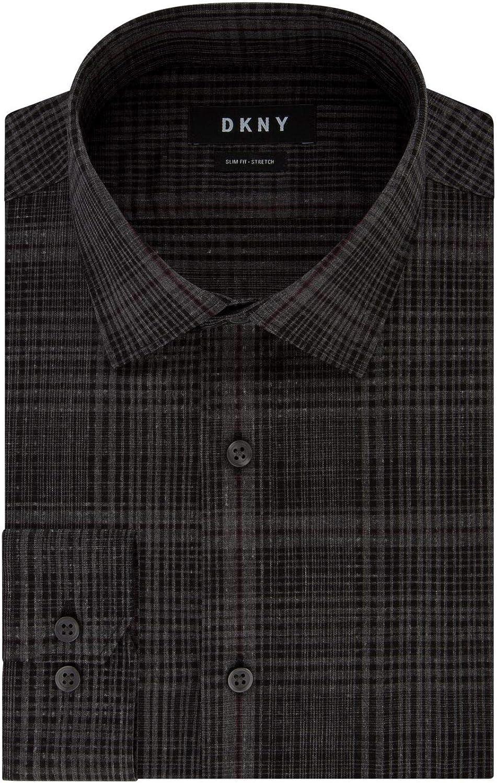 DKNY Men's Dress Shirt Slim Fit Stretch Check
