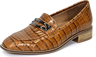 Womens Leather Penny Loafer Casual Flat Shoes for Women Ladies Girls