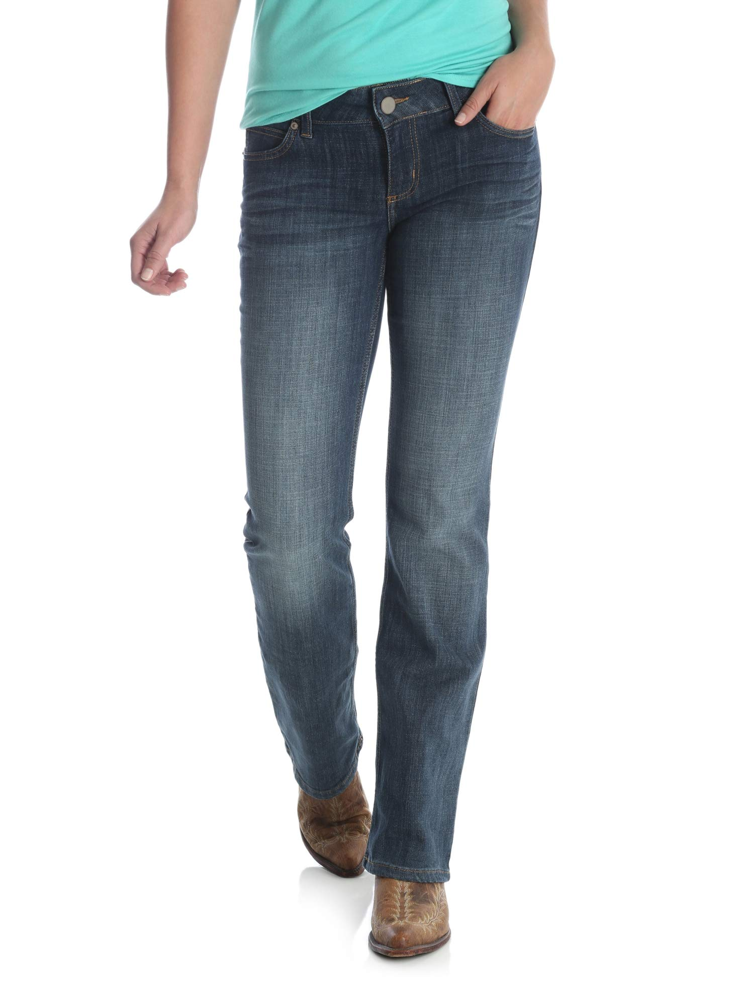 Wrangler Womens Size Plus Western Mid Rise Stretch Straight Jean