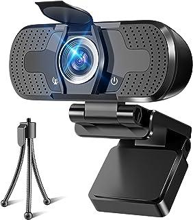 WEBカメラ ウェブカメラ HD1080P 200万画素 三脚/盗撮防止カバー付き 高画質パソコンカメラ ワイドサイズ対応 自動フォーカス 内蔵マイク ウェブカム skype会議用PCカメラ Windows 10/8 / 7 Mac OS X,...