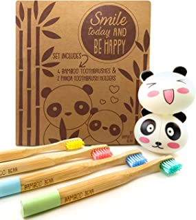 Bamboo Toothbrush Set for Kids with 4 Biodegradable Toothbrushes and 2 Panda Suction Toothbrush Holders, Eco Friendly, Organic Toothbrushes for Children with Extra Soft Bristles, 6 PC Set