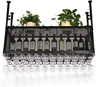Wine Holder Wine Rack Metal Wall Mounted Wrought Iron Grid Wine Rack Bar Craft Hanging Counter Cup Holder Wine Glass Goble...