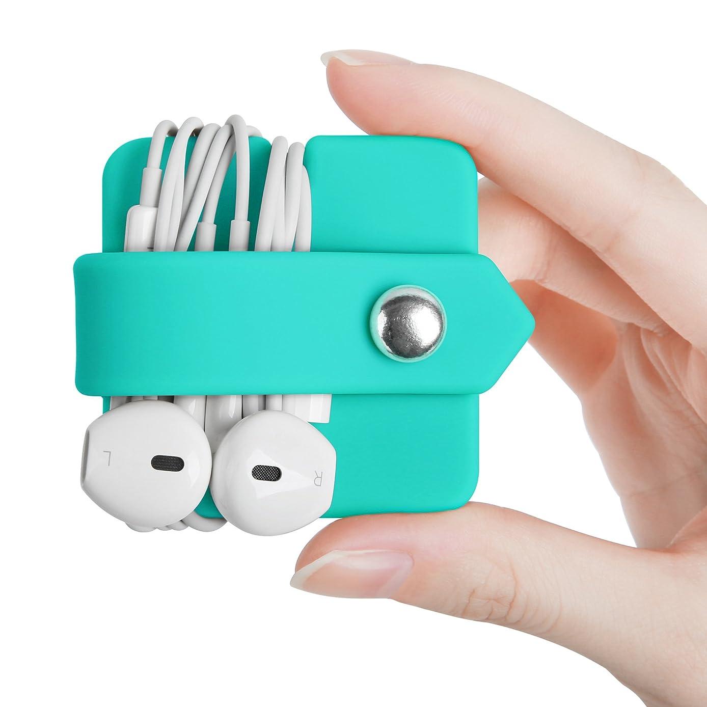 ELFRhino Silicone Earphone Organizer Earphone Wrap Winder Headphone Cord Organizer Wrap Winder Manager/Cable Winder(Blue, 1 Piece)