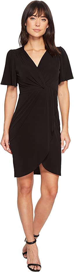 Nyla V-Neck Short Sleeve Twist Front Midi Dress
