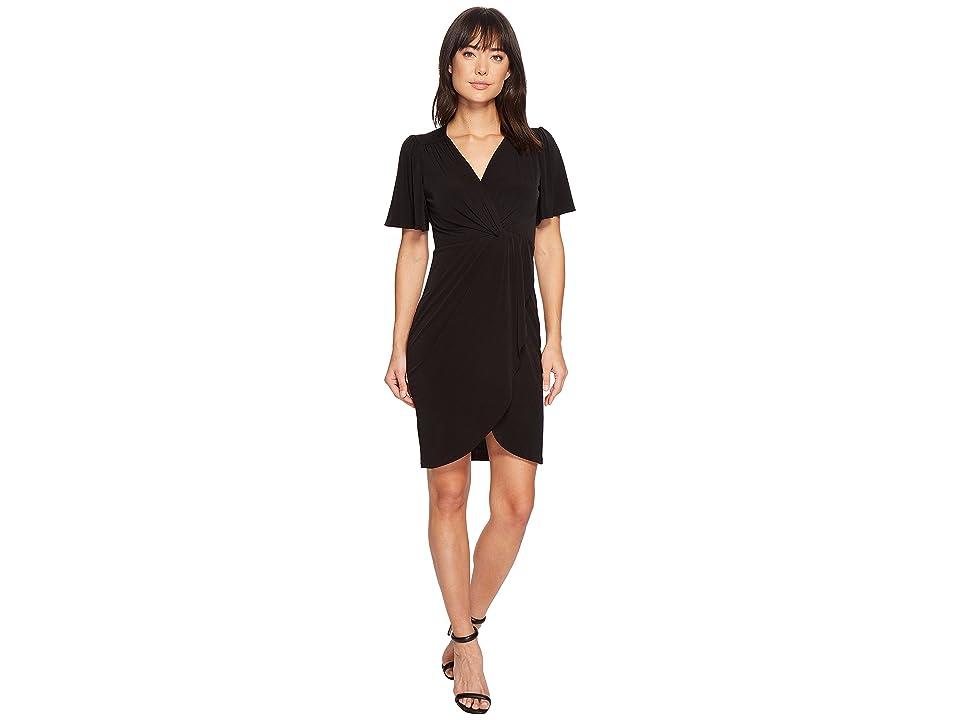 CATHERINE Catherine Malandrino Nyla V-Neck Short Sleeve Twist Front Midi Dress (Black) Women