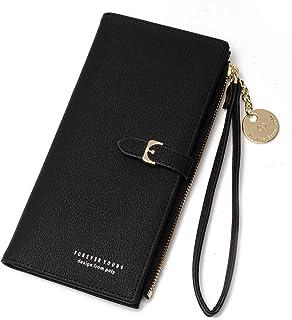 Women's Wallet Long Zipper Purse, Anti-theft Soft Leather...