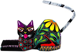 NOVICA Yellow and Green Floral Painted Wood and Maguey Fiber Kitten Sculpture 'Excited Cat in Black'