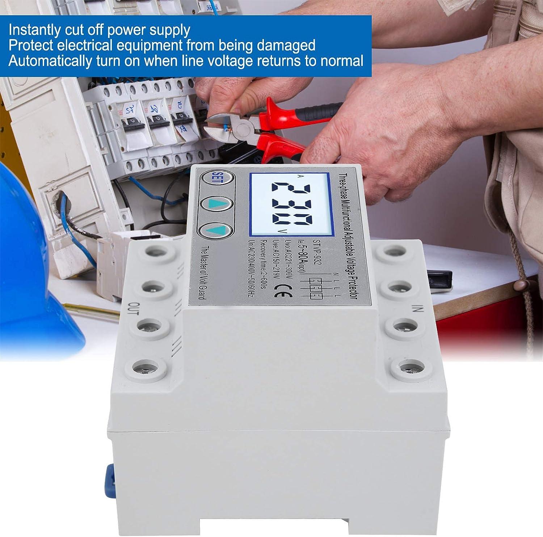 Protector de Voltaje 80A Rendimiento Estable con Funciones Completas Protector de Voltaje Ajustable LCD Trif/ásico Multifuncional con Reinicio Autom/ático STVP ‑ 932 230V//400VAC
