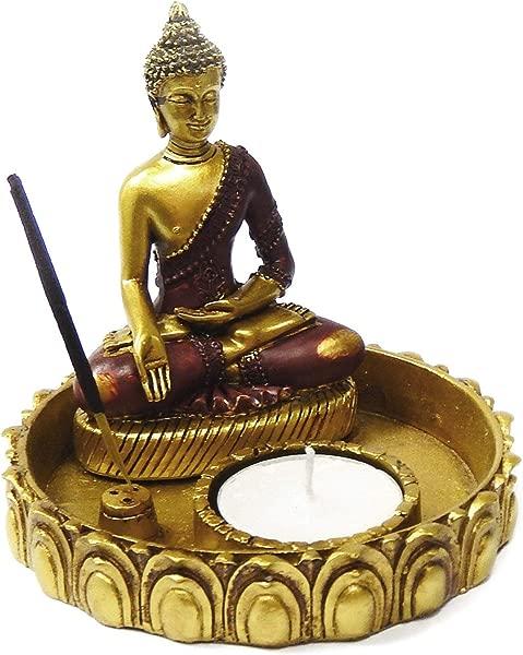 Bellaa 22326 Golden Buddha Statues Incense Holder Burner Votive Tlight Candle Holder Meditation Figurine