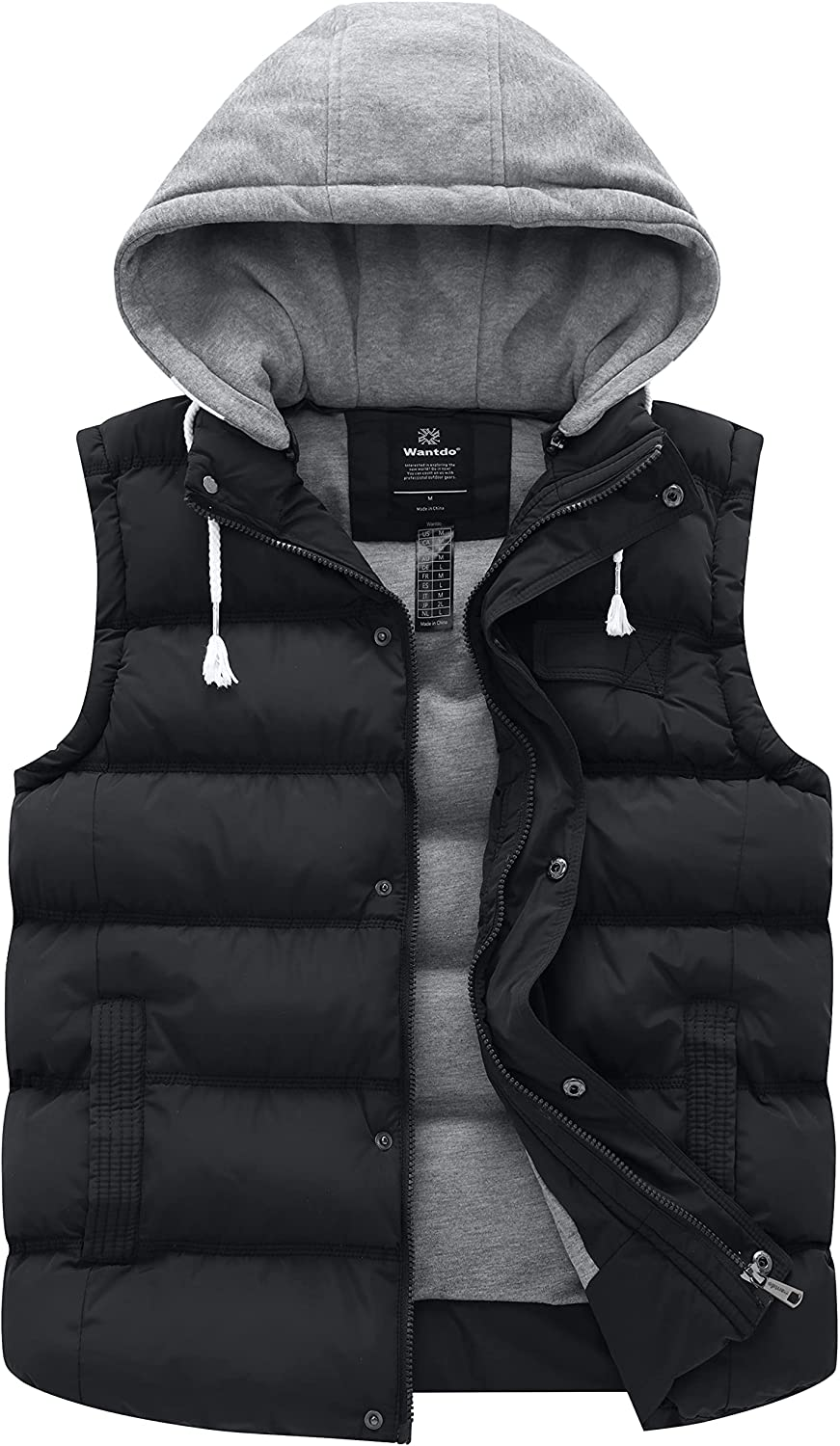 Wantdo Women's Quilted Puffer Vest Thicken Warm Winter Coat with Removable Hood