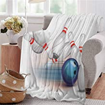 Luoiaax Bowling Party Bedding Microfiber Blanket Thrown Ball and Scattered Pins Speed Hit The Target Shot Score Super Soft and Comfortable Luxury Bed Blanket W80 x L60 Inch White Pale Blue Red