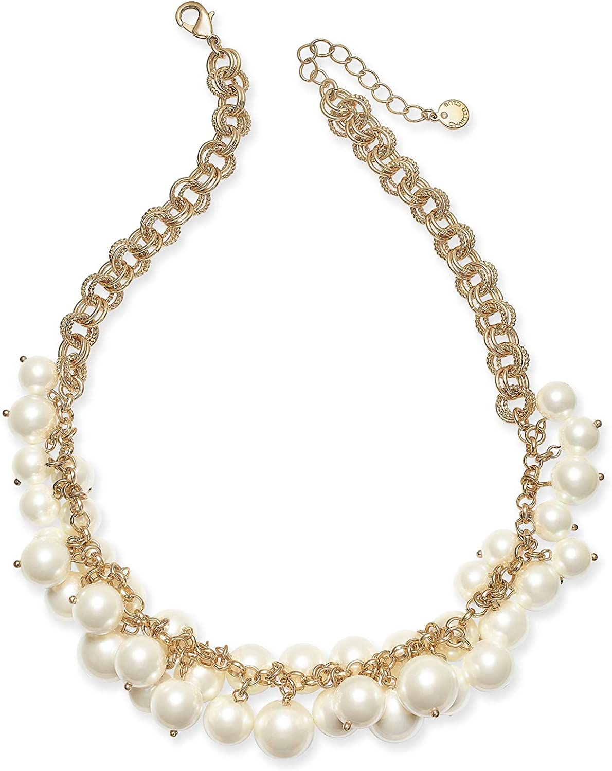 Charter Club Gold-Tone Shaky Faux Pearl Collar Necklace, 17' + 2