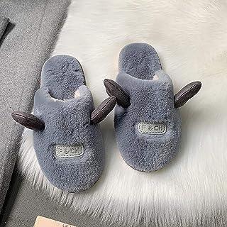 WZHZJ Femmes Pantoufles Courtes en Peluche Chaussures d'hiver Chaudes Dames Doux Appartements intérieurs Femme Pantoufles ...