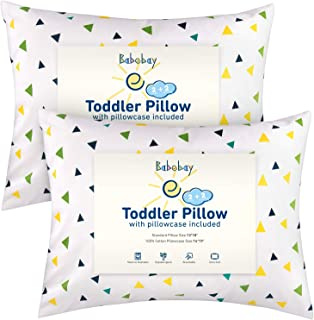 Babebay Toddler Pillow with Pillowcase,2 Pack - 13 x 18 Inches Toddler Bedding Small Pillow Cotton Cover for Unisex Kids Sleeping