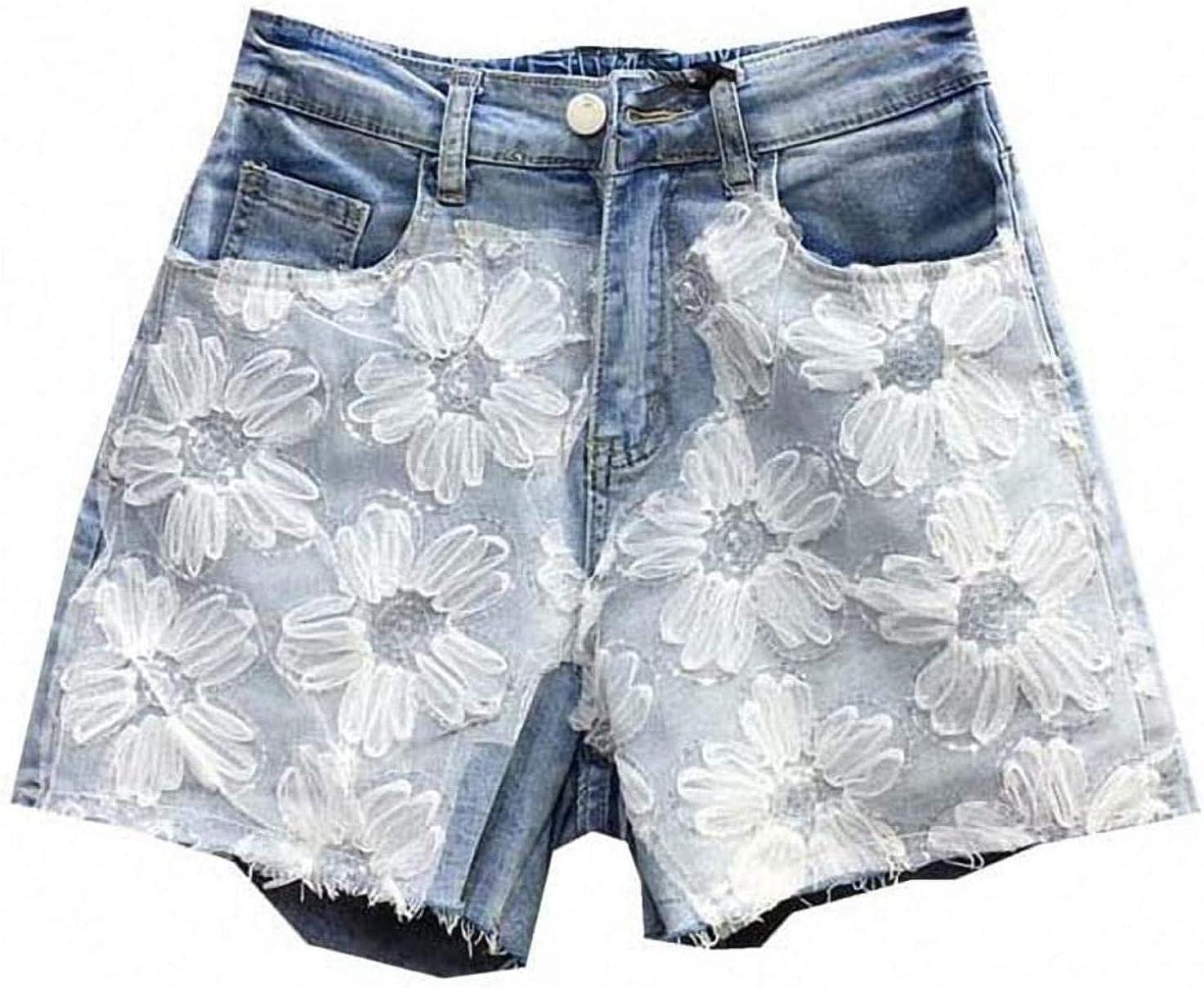 Tayaho High Waist Denim Shorts Women Mesh Patch Jeans Shorts Female Summer Casual Loose Wide Leg Short Jeans Streetwear