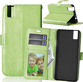 JUJIANFU-Phone Case for Huawei Honor 7i/for Huawei Shot X Solid Color Premium PU Leather Wallet Magnetic Buckle Design Flip Folio Protective Case Cover with Card Slot/Stand (Color : Green)
