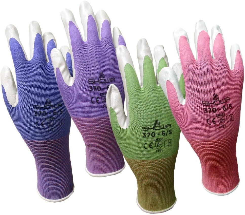 12 Pack Miami Mall Showa Atlas NT370 Popularity Nitrile Gloves - Garden Medium