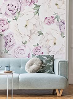 Peony Flower Mural Wall Art Wallpaper - Black & White - by Simple Shapes