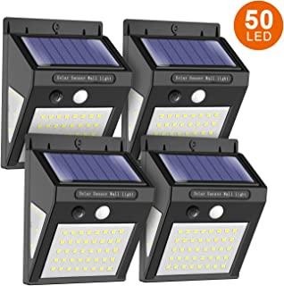 MODAR Solar lights outdoor motion sensor, 50 LED Sensor lights with 120° Wide-Angle Detection 270° Lighting Angle, Waterproof Wireless Bright Solar Security Lights for Garage, Yard, Patio, Pathway, Front Door, Driveway (White Light, 4 Pack)