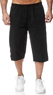 DELIMALI Men's Casual Loose Cotton Linen Sports Pants Drawstring Cropped Pants