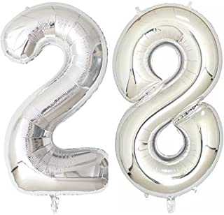 40inch Silver Foil 28 Helium Jumbo Digital Number Balloons, 28th Birthday Decoration for Girls or Boys,28 Birthday Party Supplies
